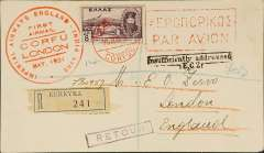 """(Greece) Imperial Airways, F/F Corfu to London, bs 28/5, registered (label) cover franked 8d, canc red Corfu cds, via Athens, large red boxed bilingual Athens """"Par Avion"""" cachet, on front."""