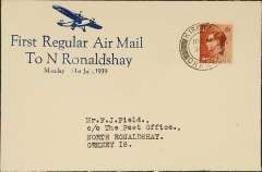 """(GB Internal) Scottish Airways, First Regular North Ronaldshay Airmail, Kirkwall to North Ronaldshay, bs 31/7, uncommon Francis Field blue/ivory souvenir cover with imprint of monoplane and """"First Regular Airmail/To N Ronaldshay/Monday 31st July, 1939"""", franked 1 1/2d. Canc 'Kirkwall/11.15am/31 JY/39'."""