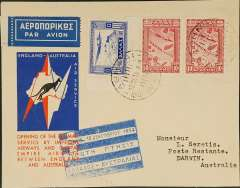 (Greece) Imperial Airways, Athens to Darwin, bs 19/12, carried on F/F London-Singapore extension to Australia, red/white/blue kangaroo official souvenir cover, franked 1933 Air Government issue 10d x2 (cat Sg £23 used) and 5d, 1927 2d verso, all canc Athens cds, fine strike official blue/white Greece-Australia flight cachet. Nice item.