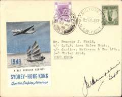 (Australia) Qantas Skymaster F/F regular service, Sydney to Hong Kong, Hong Kong 10c canc Hong Kong/28 JU 49 arrival cds on front, official company cover with embossed winged logo on flap, franked Australia 1/- canc GPO Sydney/26 JE 49 cds, large pale blue/grey/black/white,signed by the pilot, Capt. JM Hampshire.