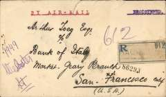 "(Iraq) Early acceptance of mail for USA for carriage on the RAF Cairo-Baghdad Airmail Service, Baghdad to the Bank of Italy, San Francisco, b/s, via Cairo 29/7, and New York ,oval transit ds, registered (label) cover rated12 annas (3a + 6a special air mail + 3a registration), date of postage illegible, typed ""By Air Mail"", black/grey green Iraq airmail etiquette RQ-A-1a, rated rare by Mair. A scarce acceptance for this pioneer service."
