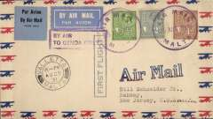 """(Malta) Flown cover from Valetta to New Jersey, USA, inscribed """"F/F  Air Mail flight from Malta to London"""", with violet circular cachet """"Air Mail Malta/25 Aug 1931"""" and Valetta cds, boxed violet Jusqu'a cachet """" By Air To Genoa Only"""", cachet verso"""