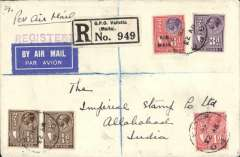 (India) Malta to India, a likely first Malta accceptance for Allahabad, bs 11/6, via Alexandria 28/5, Cairo 28/5 and Karachi 7/6, registered (label) cover franked 4 1/2d plus the KGV red/violet 6d opt 'Air Mail' special airmail stamp (a 1928 Malta Govt. Post Office Notice reqired the air mail fee of 6d to be denoted by this special stamp), ms 'Per Air Mail', blue/white airmail etiquette, 'Registered' hs. The Malta Study Circle Paper #29, p9, reports that this service was run by Imperial Airways, and that mail had to leave by sea until 19th July 1931. It also refers to an acceptance from Malta for Allabahad dated  23 May 1928. A rare item in fine condition.