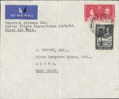 "(Nigeria) Elders Colonial Airways, experimental survey flight, Lagos to Accra, bs 13/7, pale grey airmail etiquette cover, franked 6d, canc Lagos cds, typed ""First (Experimental) Inter-Colonial Air Mail/Lagos-Accra"". Official mail, but the flight was not advertised, so only a small mail was carried (ref Porter). Ex Colin McCaig, #780, illustrated p99,West African Airmails, The McCaig and Porter Collections, Priddy, B., West Africa Study Circle, 2002."