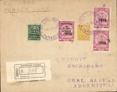 (Paraguay) Ficarelli F/F Asuncion to Buenos Aires, bs Buenos Aires 2/1 and Gen Alvear 3/1, registered (label) cover addressed to a Notary (Escribano) franked $1.50 postage, $1.00 reg, and $5.65 airmail. Carried by rail from Buenos Aires to destination.