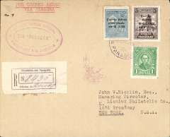 "(Paraguay) First acceptance of mail from Paraguay for carriage on the F/F Compagnie Aeroposta  Asuncion-Buenos Aires service, then OAT to Cristobal, bs 19/6, on one of the regular Panagra mail flights from Buenos Aires, then OAT to New York, bs 21/6, on US internal air service, registered (label) air cover franked $1.00 registration and $18.90 airmail, canc Correo Aereo/Paraguay 12/6, fine strike red oval ""Primer Vuelo Official/Paraguay a N. America"" cachet, typed 'Por Correo Aereo/Via Panagra', Compagnie Aeroposta Argentina/Panagra. Scarce early item."