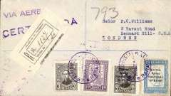 "(Paraguay) First acceptance of mail for England, Asuncion to London, bs 11/3, for carriage on the inaugural Compagnie Aeroposta  Argentina Asuncion-Toulouse service, registered (label) cover franked $14.70 ($2.50 postage, $2.00 regn, $10.20 airmail), violet ""Via Aerea"" cachet, flown on the new CGA overseas service from Paraguay to Argentina then ""accelerated"" by the ""plane-ship-plane route via the South Atlantic, arriving in Toulouse on 9th March. Scarce item in fine condition."