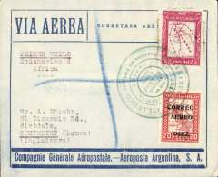 (Paraguay) First acceptance of mail for England for carriage on Compagnie Aeropostale  Argentina's first attempt, by Mermoz, at crossing the South Atlantic by air from Natal to Dakar, Asuncion to London, bs 19/6, Aeroposta Argentina / Via Aerea/ Sobretasa Aerea envelope franked $12, canc special green circular 'Mermoz' cachet dated 8 Junio 1930.   Scarce pioneer South Atlantic item i fine condition, catalogued 1000Ff, Collot et Cornu, 1990