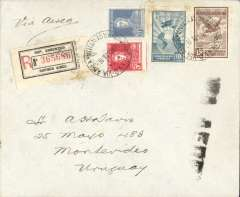 (Argentina) F/F from Buenos Aires to Montevideo, bs 17/5, by Aeroposta Argentina, registered (label) cover franked  5c postage, 20c registration and 25c airmail (airmail rate 5c per gram), canc 'Via Aerea/17 May 28/Buenos Aires, ms 'Via Aerea'. Prior to the opening of the Buenos Aires-Asuncion service Aeroposta Argentina began this service between Buenos Aires and Montevideo, across the River Plate. Scarce.