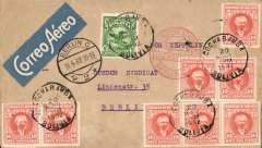 "(Airship) Lloyd Aereo Boliviano/Syndicato Condor/Graf Zeppelin, 2nd S. American flight, Cochabamba to Friedrichshafen 13/4, and on to Berlin 13/4, plain cover franked 1.75B, canc Cochabamba cds, blue/white 'Correo Aerea' airmail etiquette, nice strike red circular ""Luftpost Befordert/Luftpostampt/Berlin C2"" arrival hs. Carried by LAB from Cochabamba to Puerto Suarez, Condor from Corumba -Campo Grande-Tres Lagadas Rio-Bahia-Recife, Graf Zeppelin to Friedrichshafen."
