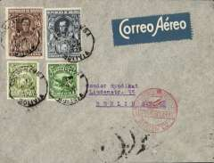 "(Airship) Lloyd Aereo Boliviano/Syndicato Condor/Graf Zeppelin, 4th S. American flight, Cochabamba to Friedrichshafen 10/5, and on to Berlin 10/5, plain cover franked 1.75B, canc Cochabamba cds, blue/white 'Correo Aerea' airmail etiquette, nice strike red circular ""Luftpost Befordert/Luftpostampt/Berlin C2"" arrival hs. Carried by LAB from Cochabamba to Puerto Suarez, Condor from Corumba -Campo Grande-Tres Lagadas Rio-Bahia-Recife, Graf Zeppelin to Friedrichshafen. This was the last flight SA zeppelin flight when permission was given for Bolivian material to be carried using Bolivian stamps for postage."