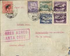 "(Bolivia) Lloyd Aereo Boliviano, Sanya Cruz to Argentina, bs Embarcacion 20/6, via Cochabamba 13/6, and Villazion (Bolivia) 18/6 and Jujuy (Argentina), plain cover franked25 c postage and 75 c LAB airmail fee (1928 15c, 1930 50c and 5c x2 LAB definitive's), large red framed ""Correo Aerea/Santa Crtuz"" hs, and verso red framed ""Economice Tempo/Empleanco El/Correo Aereo/L.A.B."". Flown LAB to Cochambaba, then rail via Villazon to Jujuy, then by road to Embarcacion. Scarce itinerary with exceptional routing, see scan. Non invasive nibbles bottom rh corner, see scan."