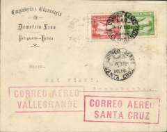 "(Bolivia) Lloyd Aereo Boliviano, route development 1929-1932, Vallegrande to Cochambaba, bs 25/4, via Santa Cruz, 24/4 transit cds on front, Dimetro Zinea corner cover franked 1930 5c and 35 airs, canc Vallegrande cds, fine strikes large red framed ""Correo Aereo/Vallegrande"" and ""Correo Aereo/Santa Cruz"" cachets on front, and verso red framed ""Economice Tempo/Empleanco El/Correo Aereo/L.A.B."". No mention can be found in the usual works of reference to Vallegrande in the development of the LAB network . But this cover, with its prominent ""Correo Aereo/Villegrande"" cachet and Santa Cruz, 24/4 and Cochabamba, bs 25/4 ds's, confirms, for the first time in our experience, that Vallegrande was an official extension of the Santa Cruz-Cochabamba service. A nice exhibit item with rare markings."