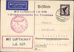 "(Airship) Graf Zeppelin Orient flight over the Near East, Friedrichshafen to Er Ramle, card franked 1926 1M and black air stamp, official red flight cachet, red/white ""Mit Luftschiff/LZ 127"" vignette on front."