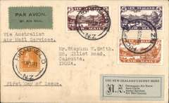 """(New Zealand) First  New Zealand overseas mails using airmail stamps, New Zealand to India, Highfield to Calcutta 6/12, plain cover with black/ green blue etiquette  franked 2d ordinary + unique first day usage 1931 set complete 3d, 4d, 7d, canc 'Highfield/9 Nov 33/NZ' cds, typed """"Via Australian/ Air Mail/Services"""" and """"First Day of Issue"""", black/grey-green 'Air Mail Society of New Zealand' label on front, and bearing signature of Stephen Smith verso. Nice clear Highfield postmarks. The official first day of issue was Nov 10th, but at Highfield, a suburb of Timaru, a small number of stamps were sold in error on Nov 9th. This cover is not only aerophilatelically scarce, but also a """"unique 'Day of Issue' item"""" (see Walker DA, p95). Odd spots, see scan."""