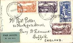 (New Zealand) Christmas Airmail by ANA Sydney-London flight, Highfield to London, no arrival ds, franked 1931 Airs set and 2d Health, canc Highfield 11/11/1931 cds, large red boxed 'New Zealand-Australia-London' light cachet verso, ms 'Via Sydney to London', black/ green blue etiquette rated very scarce by Mair. Delayed by crash at Alor Star, arrived London 16/12.