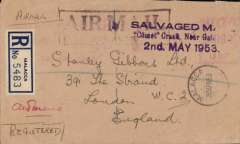 "(Recovered Interrupted Mail) BOAC COMET Jet Liner DH 106 crash on take off from Dum Dum airfield, Calcutta, on a flight from Singapore to London, registered (label) cover, franked red Malaya meter mark, also 'Malacca/30 Apr 53' cds front and verso and 'Singapore/30 Apr 53' verso, large violet framed 'Air Mailo/par Avion' hs, violet Type b cachet ""SALVAGED M***/Comet Crash, Near Gal*****/2nd. MAY 1953"" ('G' instead of 'C' in Calcutta)""  Ni 530502b."