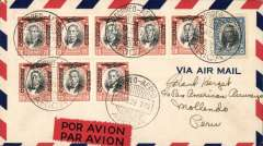 (Chile) Panagra/Chilean Air Force, F/F Arica (Chile) to Mollendo (Peru), bs 23/7, airmail cover franked $1.85, red/black airmail etiquette, carried on the inaugural return Panagra Santiago-Cristobal (Santiago-Orvalle-Copiapo-Antofagasta-Iquique-Arica-Mollendo-Lima-Cristobal) service. The plane on the first inward service was held up at Orville with undercarriage problems so, for the return, the mail was carried  from Santiago to Orville by the Chilean Air Force and transferred to the Panagra plane which. having been repaired left Orville on July 22nd. The inauguration of the inward Cristobal-Santiago service on July 16th saw the closure of Mollendo as a stopover, and its replacement by Arica. But, as is evident from this cover, the inaugural return flight did touch down at both towns. An nice exhibit item.. Scarce, and in fine condition.