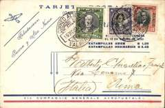 """(Chile) Compagnie Generale Aeropostale, a rare red/white/blue CGA New Year Greetings card, Valpariso to Rome, no arrival ds, franked at the special 40c postage + $1.20 airmail rate, canc Valpariso cds, """"Felicitationes/Pascua y Ana Nuevo"""" printed in blue in the top right hand corner with winged envelope and arrow logo."""