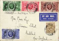 (GB External) London to Auckland, New Zealand, via Sydney 5/7 airmail etiquette cover the Silver Jubilee set of 4 +KGV 1/- Romsey/Hants cds,  Imperial Airways flight IE 351. Niice item.