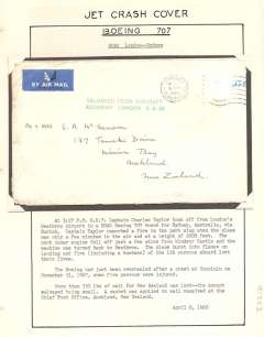 "(Recovered Interrupted Mail) BOAC Boeing 707 crash at London Heathrow airport, en route from London to Australia, via Zurich, plain cover addressed to Auckland, New Zealand, stamp/s washed off, postmarked Ashington/Northumberland/ 6 APR 1968, very fine strike green cachet applied to mail to New Zealand ""Salvaged from Aircraft/Accident London 8-4-68"", Ni680408b. A 125 word type written text giving details of this crash accompanies this item."