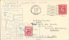 """(Lundy Island) Devon Air Travel, F/F Chivenor, North Devon to Lundy Island, and FDC Lundy 1/2d Puffin stamp opt """"By Air"""", cover franked GVI 1d postmarked Barnstaple/7 Nov 1950 machine cancel, blue two line """"Lundy Air Post"""", flight cachet with blue framed map of route between Chivenor and Lundy and blue five line """"Resumption of/Air transport/Between Lundy/and Chivenor, North Devon"""" below, also blue straight line 'First Day Cover' hs, and 1/2d Puffin air stamp tied by blue framed """"Lundy Air  Post/8 Nov 1950/Lundy Air Post"""" cachet. Signed by the pilot J.L.L.Drabble. A lovely item."""