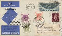 """(United States) First Eastward 'All the Way by Air' around the world dispatch, New York to New York, via Imperial Airways inaugural transatlantic air service New York (Aug 9, depart cds) to Southampton, London (Aug 12th machine depart cancel front and verso) to Hong Kong by Imperial Airways Eastbound service SE 165, Hong Kong to New York, Sept 12 arrival cds verso via Pan Am Pacific service to San Francisco and  US transcontinental service to New York. Grey/blue Imperial Airways """"Transatlantic/First regular service between Great Britain, Eire, Newfoundland, Canada and USA"""" souvenir cover franked US 30 air stamp canc New York Aug 9 1939 cds, GB 1 1/2d  tied Aug 12th machine cancel, Hong Kong $2.80 canc Victoria 30 Aug 39 cds, and verso US 2c canc Broolyn Sep 12th cds. Superb item in pristine condition."""