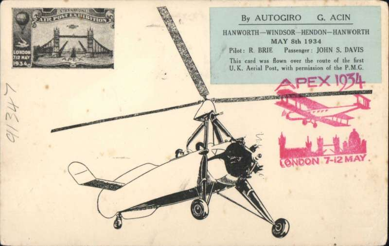 "(GB Internal) Apex International Air Post Exhibition, special souvenir PPC with drawing of  autogiro, black imprint Exhibition vignette and blue ""By Autogiro"" label, flown by autogyro from Windsor to London, then posted at the Exhibition Post Office, franked 1 1/2d canc official Exhibition postmark 8 May 34, red 'Apex 1934/London 7-12 May' cachet, and large ""By Autogiro/Over the Route/of the First UK/Aerial Post 1911/Windsor London"". Few faint non invasive tone spots lower rh corner -do not detract, see scan."