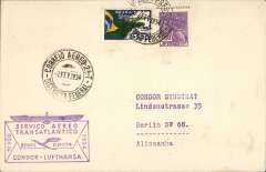 (Brazil) Inaugural flight DLH South America-Germany South Atlantic catapult service via 'Westfalen', Rio de Janero to Stuttgart, bs Stuttgart 12/2 cds with 'Deutsche Lufpost/Sudamerika-Europa' cachet in black, plain cover franked 700R postage + $3500 airmail canc 7/2 cds, fine strike violet boxed 'Servico-Aereo/Transatlantico/Brasil-Europa/Condor-Lufhtansa' F/F cachet.
