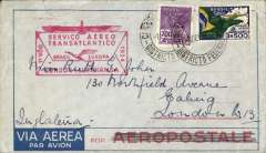 (Brazil) Inaugural flight DLH South America-Germany South Atlantic catapult service via 'Westfalen', Rio de Janero to London, via Sutgart, bs Stuttgart 12/2 cds with 'Deutsche Lufpost/Sudamerika-Europa' cachet in black, plain cover franked 700R postage + $3500 airmail canc 7/2 cds, fine strike scarcer red boxed 'Servico-Aereo/Transatlantico/Brasil-Europa/Condor-Lufhtansa' F/F cachet.