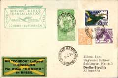"(Brazil) Inaugural flight DLH South America-Germany South Atlantic catapult service via 'Westfalen', Rio de Janero to Berlin, via Sutgart, bs Stuttgart 12/2 cds with 'Deutsche Lufpost/Sudamerika-Europa' cachet in black, plain cover franked 700R postage + $3500 airmail canc Curitibara 7/2 cds, fine strike scarcer green boxed 'Servico-Aereo/Transatlantico/Brasil-Europa/Condor-Lufhtansa' F/F cachet, green/yellow/black ""Mit Condor Luftpost/in Brasilien"" etiquette."