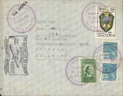 "(Brazil) 250th South Atlantic crossing, Condor/Lufthansa, Natal to Sachsen (Germany), no arrival ds, flown across the South Atlantic to Europe, black 'flag' flight cachet, airmail cover franked 300R postage + 4000R airmail, canc unusual purple 'toothed' ""Servicio Aereo/11 Jun 1937/Natal"" postmark, alsoscarce ""Syndicato Condor/NATAL"" dispatch mark verso. Nice item."