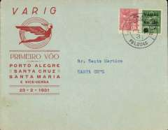 (Brazil) VARIG, F/F Pelotas to Santa Cruz, bs 23/2, attractive red/pale green souvenir cover franked 200R postage + 350R airmail, canc Pelotas cds.