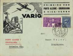 (Brazil) VARIG, F/F Porto Alegre to Uruguaniana, bs 25/7, very attractive black/pale green 'chariot and monopane' souvenir cover franked 200R postage + 500R airmail, canc Porto Alegre cds.