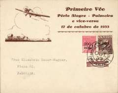 (Brazil) VARIG, F/F Porto Alegre to Palmeira, bs 17/10, attractive brown/cream 'Junkers 13 over oxcart' souvenir cover franked 300R postage + 350R airmail, canc Porto Alegre cds.