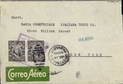 "(Ecuador) PANAGRA, first acceptance of mail from Ecuador for New York, for carriage on the last leg of the inaugural flight from Santiago (Chile) to Cristobal, Cristobal Paquebot Jul 26, 1929 depart cancel on  front, registered cover franked 10c postage + 10c airmail, canc weak strike violet boxed ""P.A.G.A.I. Servico Aereo Ecuador"" cachet, also green/white Scadta etiquettes frint and verso. 'P.A.G.A.I.' is the acronym for the original company name 'Pan American Grace Airways Inc.'. This name lasted but a short time until September 1929, and the cachet is therefore scarce. The plane on the first inward service was held up at Ovalle with undercarriage problems so, for the return, the mail was carried  from Santiago to Orville by the Chilean Air Force and transferred to the Panagra plane which. having been repaired left Orville on July 22nd. Forwarded to New York by sea, hence Cristobal Paquebot Jul 26, 1929 depart cance. Few faults verso, but nice item nevertheless."