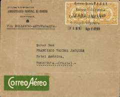 "(Ecuador) PANAGRA, Ecuador to Chile, Guayaquil to Tocopilla, bs 10/8, via Santiago 4/8, official Guayaquil Post Office envelope, franked 10c x2 postage due stamps to pay postage, airmail fee paid in gold centavos, canc scarce six line ""Correo Aero P.A.G.I./Guayaquil-Valparaiso/(FAM 9) Ago 1 1929"" postmark (also verso), the first known use of this cachet is July 25, so this one confirms a moveable date slug. Also green/white Scadta etiquette. 'P.A.G.A.I.' is the acronym for the original company name 'Pan American Grace Airways Inc'. This name lasted but a short time until September 1929, and the cachet is therefore scarce. Also a typed instruction 'Via Mollendo-Antofagasta' which is incorrect, as Mollendo was replaced by Arica as a transit stop on July 16. This cover was flown to Santiago and forwarded by train to Tocopilla. A great exhibit item, and one to make the judges' eyes water."