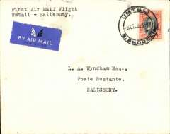(Southern Rhodesia) Rhodesia and Nyasaland Airways, F/F internal flight, Umtali to Salisbury on Salisbury-Beira route, b/s 5/10, Wyndham cover franked 4d, canc Umtali cds, etiquette, typed 'First Air Mail Flight/Umtali to Salisbury'. Only 15 flown.