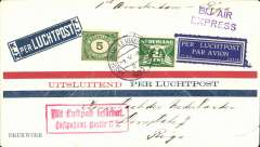 (Netherlands) F/F to Riga, Latvia, bs 2/5, from the Netherlands, via Berlin 1/5, red/white/blue imprint etiquette airmail cover franked 7 1/2c, red framed 'Luftpostamt Berlin C2, arrival hs on front, violet two line 'BIJ Air/Express' hs. Carried on DLH/KLM  F/F Amsterdam-Berlin, then transferred to Derluft Berlin-Konigsberg-Moscow service, then transferred again at  to the Derluft Konigsberg-Riga service. A most interesting item in fine condition. See Lettland: Die Luftpost 1920-1940, p64.