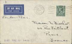 (GB External) Imperial Airways, first service at the new 4d per oz. rate, London to Paris, no arrival ds, grey/blue imprint etiquette airmail cover, correctly rated 4d, canc London FS cds. Uncommon. Francis Field authentication hs verso.