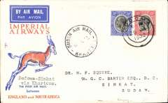(Tanganyika) Imperial Airways emergency flight, Dodoma to Sinkat, bs 12/2, special flight by City of Baghdad dropping/collecting mail from Broken Hill and intermediates as far as Nairobi only. Cover flown Moshi-Nairobi on the emergency service, and then on to Khartoum on the second Cape-London service. Souvenir Springbok cover cancelled Dodoma 25/1, Nairobi 3/2, and Sinkat 12/2.  Francis Field authentication hs verso. Super item