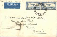 (New Zealand) New Zealand to India, Napier to Sind, bs Karachi 25/2, airmail etiquette cover franked 1/-, partial strike 'Cancelled/Karachi/...38' receiver. Carried by Imperial Airways on the last flight before the introduction of the new Australia service timetable, consequent upon the introduction of stage 2 of the Empire Air Mail Service. Nice one for the exhibit.