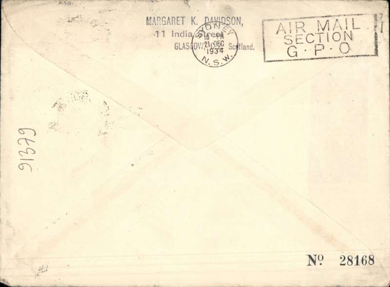 (GB External) F/F England to New Zealand, Glasgow to Dannevirke,  via Sydney 21/12, carried on the Australia extension of London-Singapore service, rated 1/3d, official Map and Kangaroo cover, Imperial Airways/Qantas.
