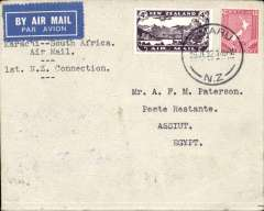 "(New Zealand) New Zealand to Egypt, Timaru to Assuit, bs 31/7, via Cairo 30/7, New Zealand accept for Cairo-Cape route, type endorsement ""Karachi-South Africa Air Mail 1st NZ Connection"", Imperial Airways. Scarce"
