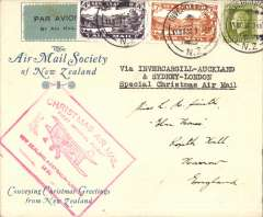 "(New Zealand) Christmas Airmail by ANA Sydney-London flight, Invercargill to London, no arrival ds, blue/cream printed souvenir cover franked 1/8d, canc Invercargill 11/11/1931 cds, large red boxed 'New Zealand-Australia-London' light cachet, typed ""Via Invercargill-Auckland & Sydney-London/Special Christmas Air Mail ""Special Air Mail/Australia-England/Also New Zealand Air Mail"", black/ green blue etiquette rated scarce by Mair, violet 'Air Mail Society of New Zealand' hs verso. Delayed by crash at Alor Star, arrived London 16/12. Superb cover, see scan."