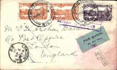 (Recovered Interrupted Mail) Christmas Airmail by ANA Sydney-London flight, Christchurch to London, bs 16/12, plain cover franked 1/6d,  canc Christchurch 11/11/1931 cds, large red boxed 'New Zealand-Australia-London' light cachet verso stained by sea water, black/ green blue etiquette rated scarce by Mair. Delayed by crash at Alor Star, arrived London 16/12.