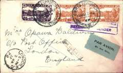 (New Zealand) Christmas Airmail by ANA Sydney-London flight, Christchurch to London, bs 16/12, plain cover franked 1/6d,  canc Christchurch 11/11/1931 cds, large red boxed 'New Zealand-Australia-London' light cachet verso stained by sea water, black/ green blue etiquette rated scarce by Mair. Delayed by crash at Alor Star, arrived London 16/12.