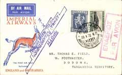 (Greece) Imperial Airways, F/F Athens to Dodoma(Tanganyika), bs 28/1 (via Nairobi), carried on inaugural England-South Africa service, springbok souvenir cover franked 12d, canc Athens cds tied by red framed bilingual Par Avion hs, elaborate blue 'winged' flight cachet. Eighty flown to Nairobi, so significantly fewer to Dodoma.