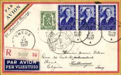 (Belgium) First Belgium acceptance for the first Imperial Airways service to Habbaniya (Dhibban, Iraq), bs 11/12, via Baghdad 10/12 , a new stop on the England to Australia service, M Debaar registered (label) black/yellow/red border airmail cover franked 5F85, canc Theux 2/12/1937. There was a Royal Air Force station at Habbaniyah, about 55 miles (89 km) west of Baghdad, on the banks of the Euphrates near Lake Habbaniyah. It was operational from October 1936 until the 31 May 1959 when the British were finally forced to withdraw following the July 1958 Revolution. This is the first Imperial Airways F/F to Habbaniya (Dhibban) we have seen, see Jennekins & Godinas, 1969, p82.    A superb item in pristine condition.
