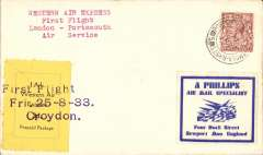 (GB Internal) International Airlines/Western Air Express, London to Portsmouth, cover franked 1 1/d, canc Portsmouth cds, black/yellow 'IA/Western Air Express' stamp canc 'First Flight/25-8-33/Croydon'.